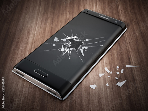 Smartphone with cracked screen standing on parquet floor. 3D illustration