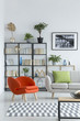 Orange armchair in living room
