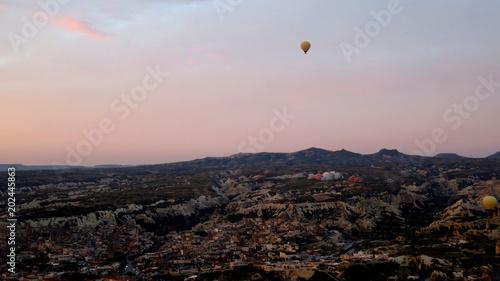 Panorama of Hot Air Balloons Inflating in Cappadocia