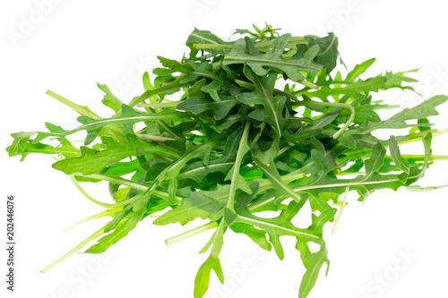 fresh lettuce leaves on white background