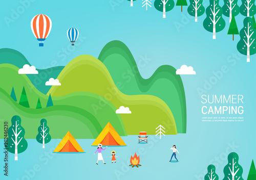 Fotobehang Pool Summer travel illustration