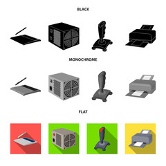 Power unit, dzhostik and other equipment. Personal computer set collection icons in black, flat, monochrome style vector symbol stock illustration web.