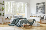 Pastel warm bedroom interior - 202447425