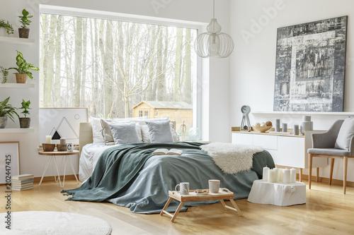 Pastel warm bedroom interior