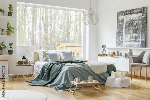 Fototapeta Pastel warm bedroom interior