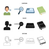 A translator in headphones, a magnifying glass showing translation, a button with an inscription, a book with a bookmark. Interpreter and translator set collection icons in cartoon,black,outline style