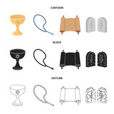 A cup of wine, Islamic beads, ten commandments, tanakh. Religion set collection icons in cartoon,black,outline style vector symbol stock illustration web. - 202449085