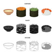 Bowl of soup, caviar, shrimp with rice. Sushi set collection icons in cartoon,black,outline style vector symbol stock illustration web.