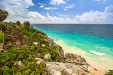 Caribbean beach at the cliff in Tulum, Mexico - 202450044