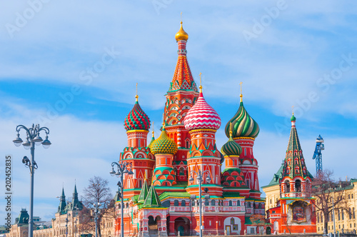 Fotobehang Moskou Saint Basil's Cathedral at Red Square in Moscow, Russia