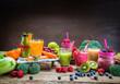 Leinwanddruck Bild - Smoothie aus Obst und Gemüse - Diät - Fasten - Detox