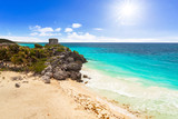 Caribbean beach at the cliff in Tulum, Mexico - 202456657