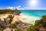 Caribbean beach at the cliff in Tulum, Mexico - 202456684