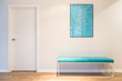 Turquoise upholstered bench seat