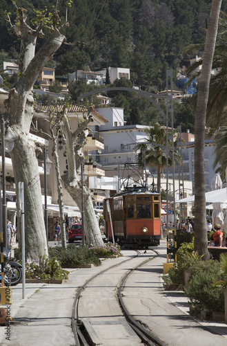 Port de Soller, Mallorca, Spain. April 2018. Vintage tram on the seafront at Port Soller.