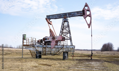 oil pumps in summer on blue sky background