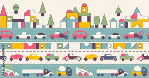Fotobehang Auto seamless pattern city toy cars