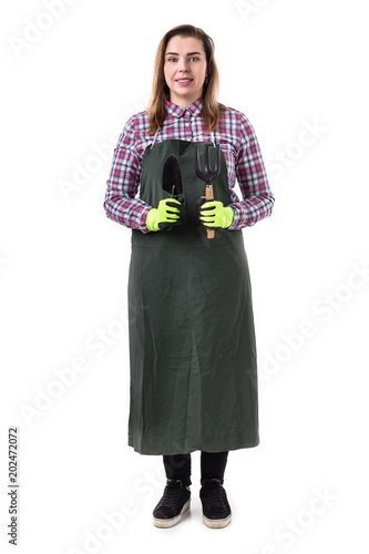 woman professional gardener or florist in apron holding gardening tools  isolated on white background