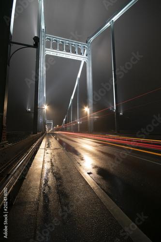 Plexiglas Nacht snelweg Rheinbrücke Krefeld Uerdingen