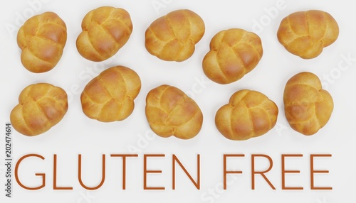 Realistic 3D Render of Gluten Free Food