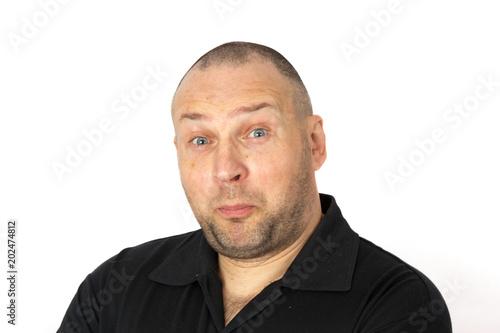 Portrait of a very surprised man. Concept emotion surprise