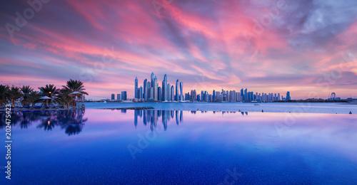 fototapeta na ścianę Wunderschöner Sonnenuntergang über das Zentrum Dubais. Fotografiert von