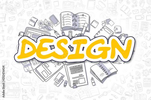 Design - Doodle Yellow Inscription. Business Concept.