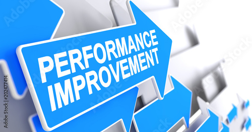 Performance Improvement - Message on Blue Pointer. 3D.