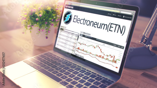 The Dynamics of Cost of ELECTRONEUM onLaptop Screen. Cryptocurre