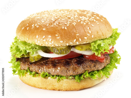canvas print picture Hamburger vom Grill