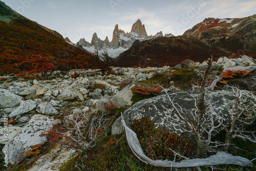 View of Mount Fitz Roy in the National Park Los Glaciares National Park during sunset. Autumn in Patagonia, the Argentine side