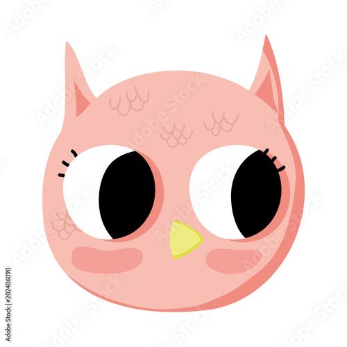Fotobehang Uilen cartoon adorable owl head wild animal