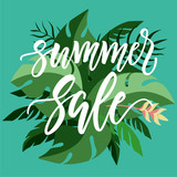 Summer SALE modern calligraphy on a green jungle leaves background.