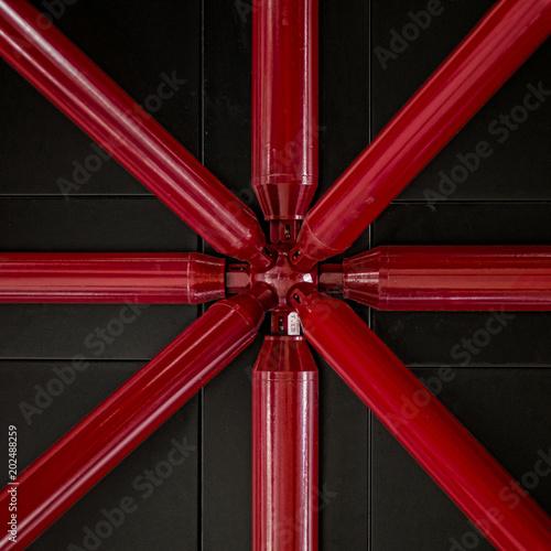 Metallic red bars symmetry