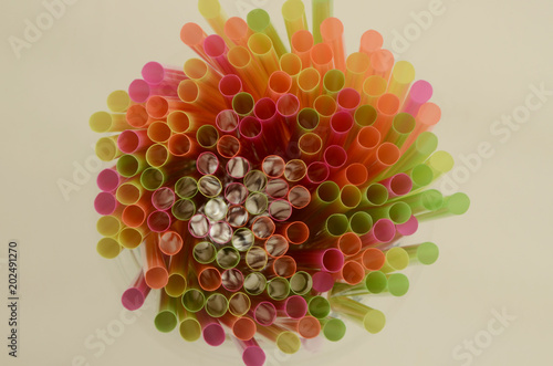 Overhead of Bright Plastic Drinking Straws
