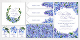 Set of templates for greetings, invitations to wedding. Blue lilac and twigs with leaves. Art by markers: invitation, card, letterhead, numbering for tables, seamless pattern. Watercolor imitation. - 202496298