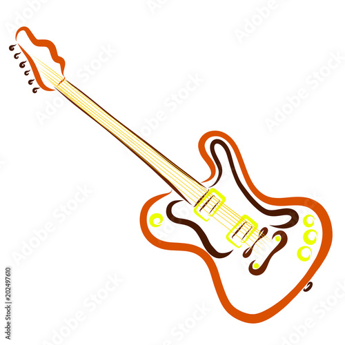 Orange electric guitar, smooth lines
