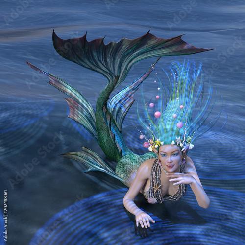 3D Rendering Fairy Tale Mermaid