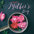 Mothers day graphic for card or print shows pink roses as bouquet for the holiday.