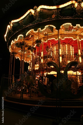 Old Fashioned Carousel In The Night Lights Paris