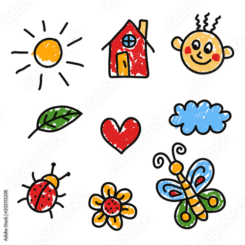 colorful childlike drawings doodle vector set