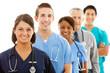 Doctors: Female Nurse Heads Line of Medical Professionals