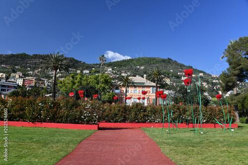 GENOA, ITALY - APRIL 27 2017 -  Euroflora return to Genoa in the unique scenario of the Nervi parks