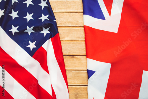 USA flag and UK Flag background.Relations, diplomacy between States.
