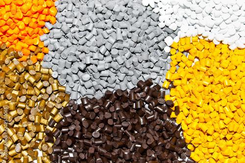 Plastic pellets. Polymeric dye.  Colorant for plastics in the granules. Plastic color resin closeup