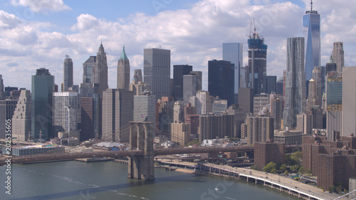 Canvas Brooklyn Bridge AERIAL: Brooklyn and Manhattan Bridges over East River against New York skyline