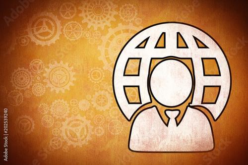 Businessman and sphere against orange background