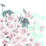 Floral vector illustration with pink flowers for wedding designs - 202552088