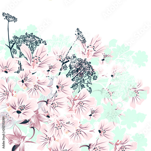 Fototapeta Floral vector illustration with pink flowers for wedding designs