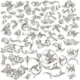 Huge collection of vintage vector hand drawn swirls for design - 202553668